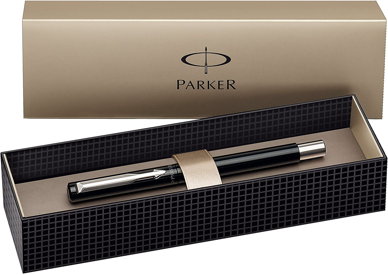 Parker - Pluma estilográfica y caja (acero inoxidable, punta fina), color plateado: Amazon.es: Oficina y papelería
