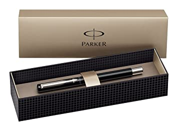Parker Vector Stainless Steel Trim Fountain Pen with Medium Nib, Gift Boxed  - Blue Ink