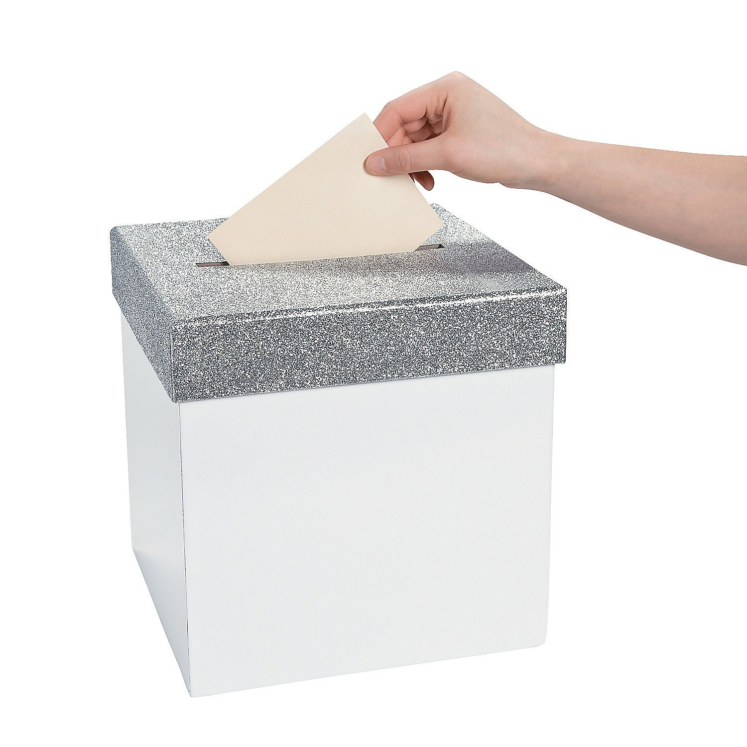 Fun Express - White Cardbox With Silver Glitter Top for Wedding - Party Supplies - Containers & Boxes - Paper Boxes - Wedding - 1 Piece