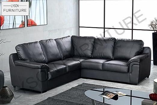 Lyson Furniture Amy sofá en Esquina de Piel sintética Negro ...