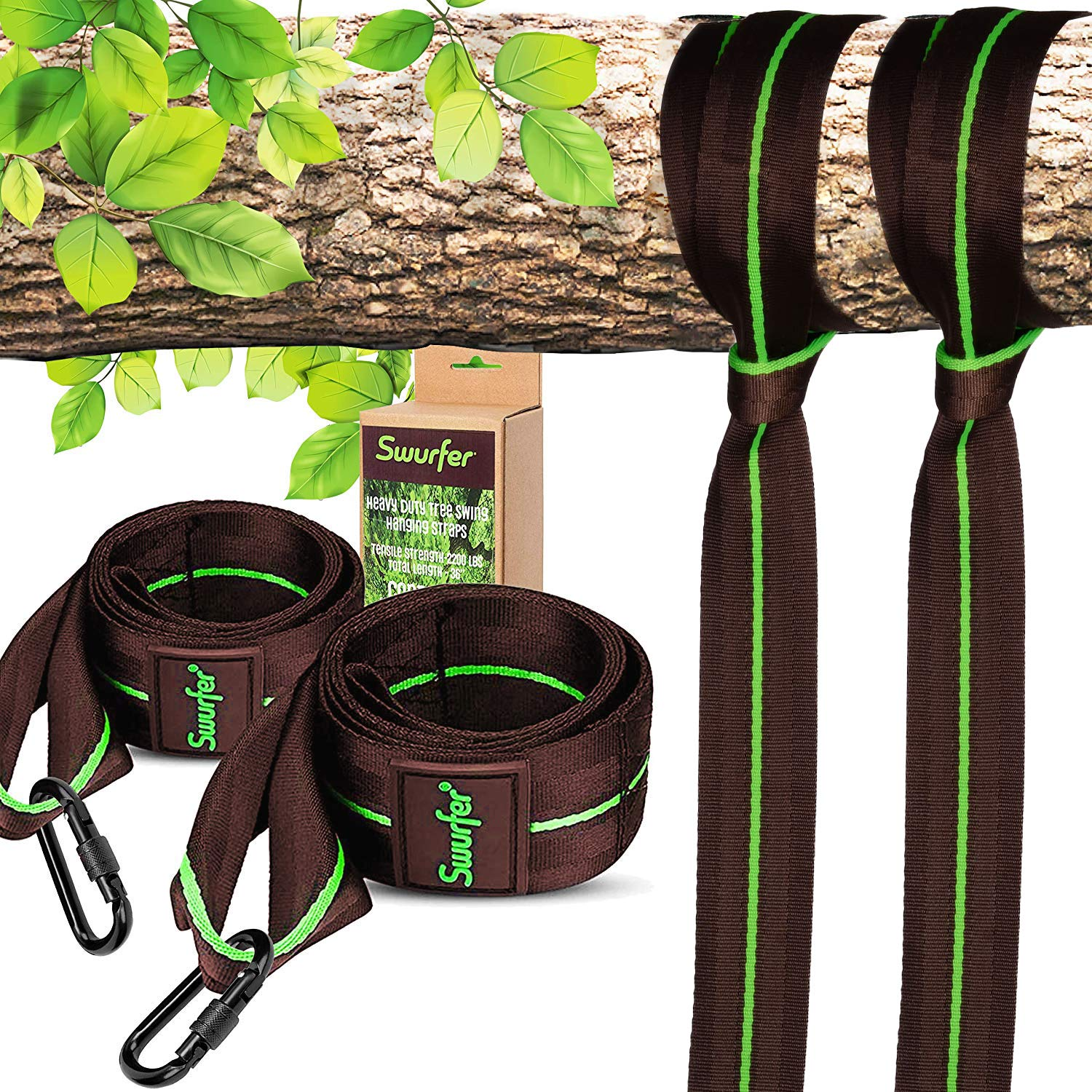 Swurfer 3ft Tree Swing Straps Hanging Kit (Set of 2) Durable Weatherproof Tree Attachment Straps - Includes 2 Industrial Strength Safe Locking Carabiners, Holds 6000 Lbs - Hang Any Swing or Hammock by Swurfer