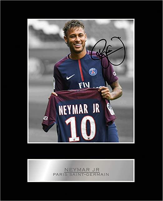 Amazon Com Iconic Pics Neymar Jr Signed Mounted Photo Display Paris Saint Germain Fc Posters Prints