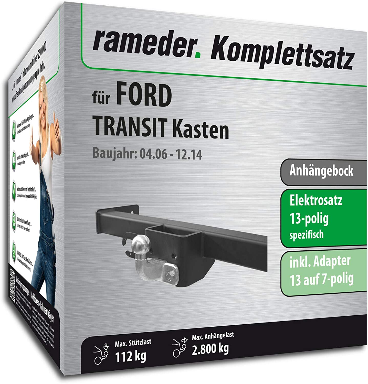 13pol Elektrik f/ür Ford Transit Kasten Anh/ängebock mit 2-Loch-Flanschkugel 114021-05572-3 Rameder Komplettsatz