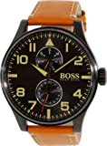 Hugo Boss 1513082 50mm Ion Plated Stainless Steel Case Brown Calfskin Mineral Men's Watch