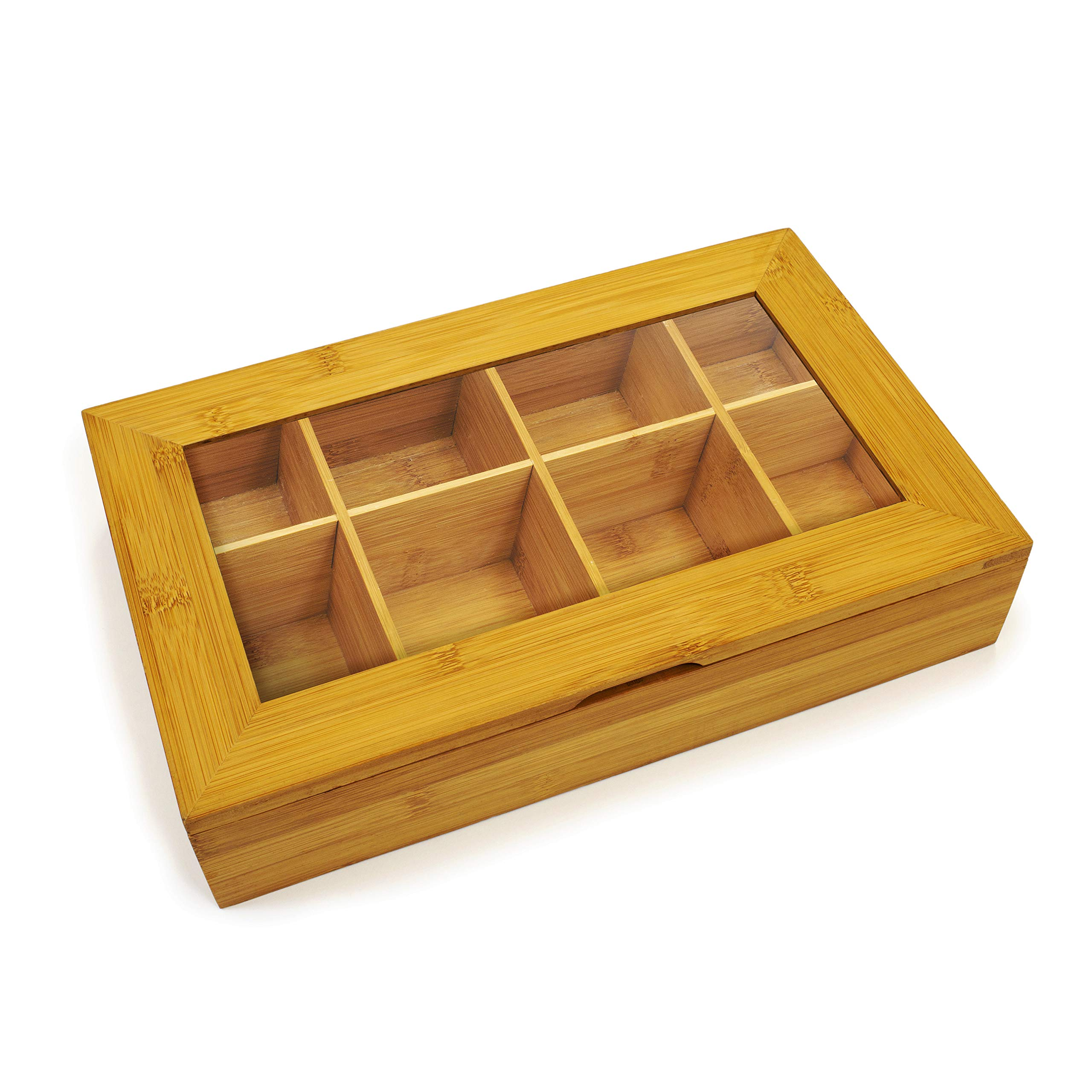 Bamboo Tea Box Storage Organizer With See Through Lid, 8 Adjustable Chest Compartments, Natural Bamboo Wooden Finish Tea Bag Organizer by Cooler Kitchen