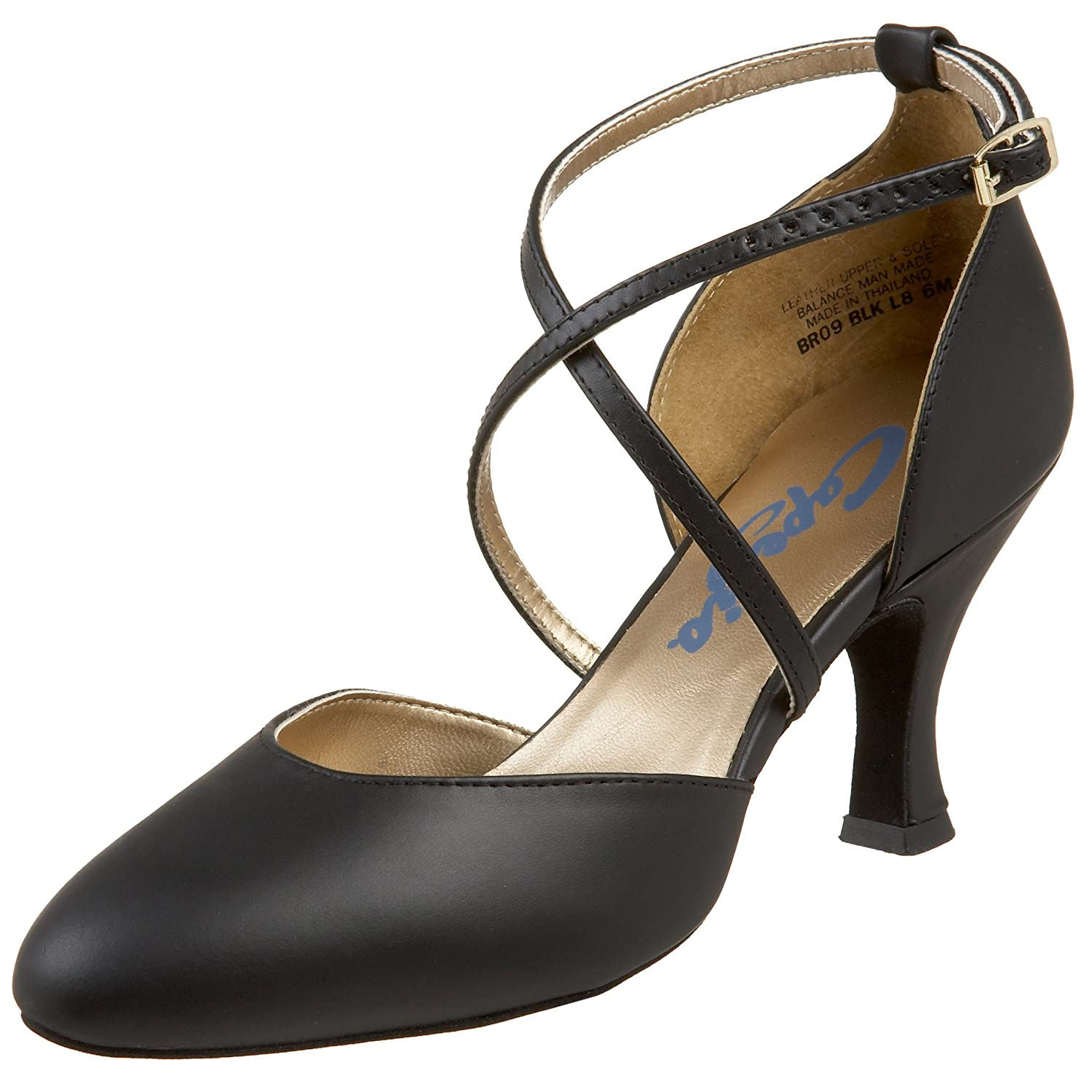 1930s Style Shoes – Art Deco Shoes Capezio Womens BR09 X-Strap 2.5 Flared Heel Shoe $79.99 AT vintagedancer.com