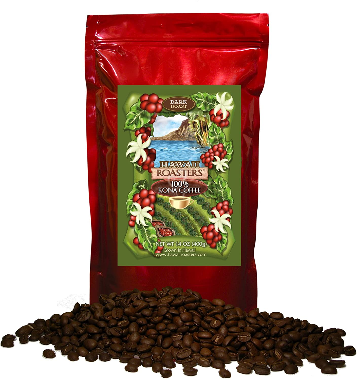 Hawaii Roasters 100 Percents Kona Coffee, Dark Roast, Whole Bean, 14 Ounce Bag by Hawaii Roasters