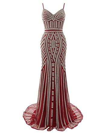fec7d5ce155c1 Sarahbridal Women's Long Prom Dress with Gold Lines Tulle Sexy Mermaid  Evening Gowns Burgundy US2