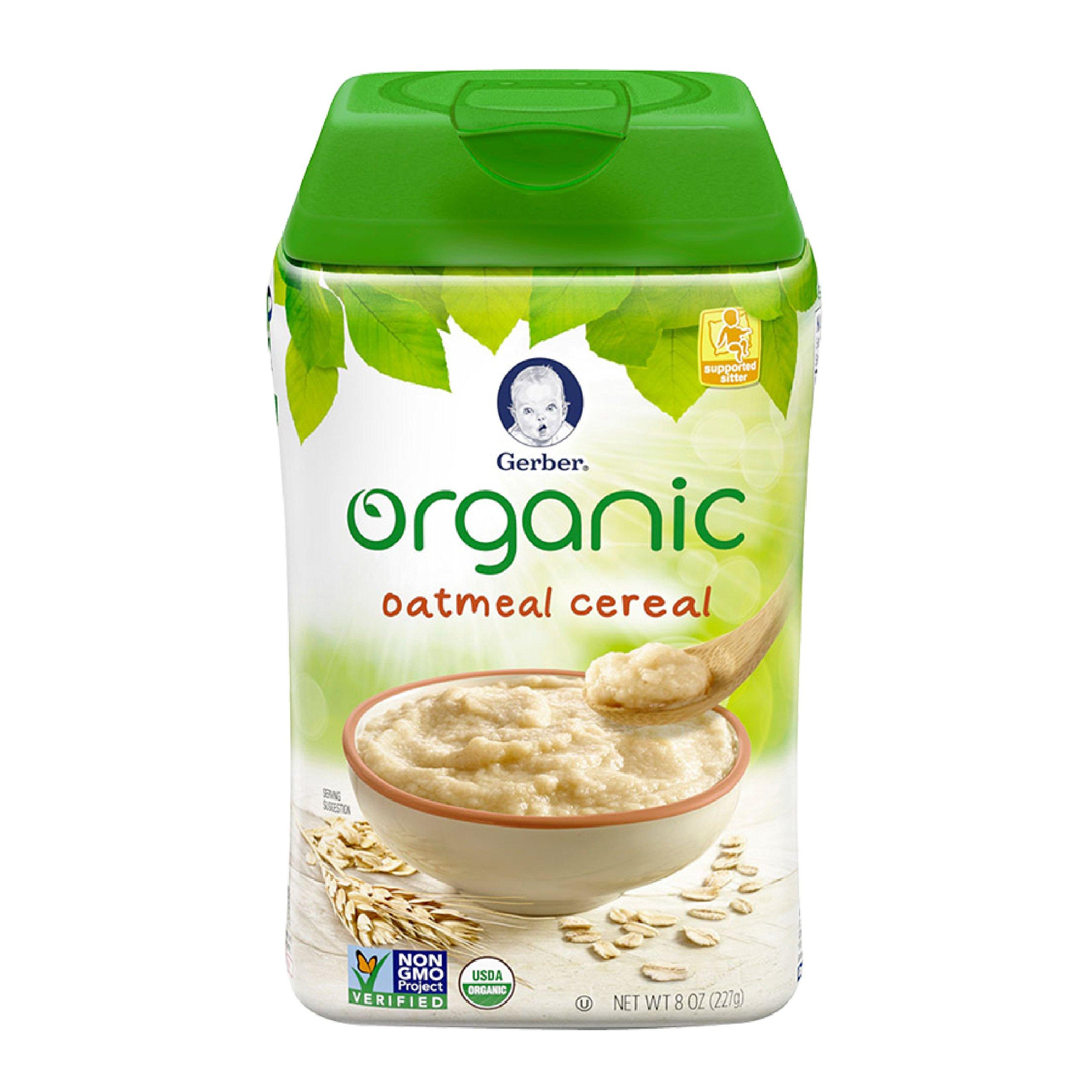 Gerber Cereal Organic Oatmeal, 8 oz
