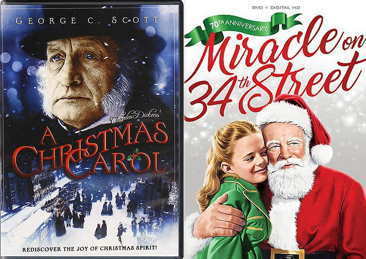 Discover Joy of Christmas Holiday Movie Pack Charles Dickens Christmas Carol + Original Miracle on 34th Street Black & White DVD 70th Edition Double Feature