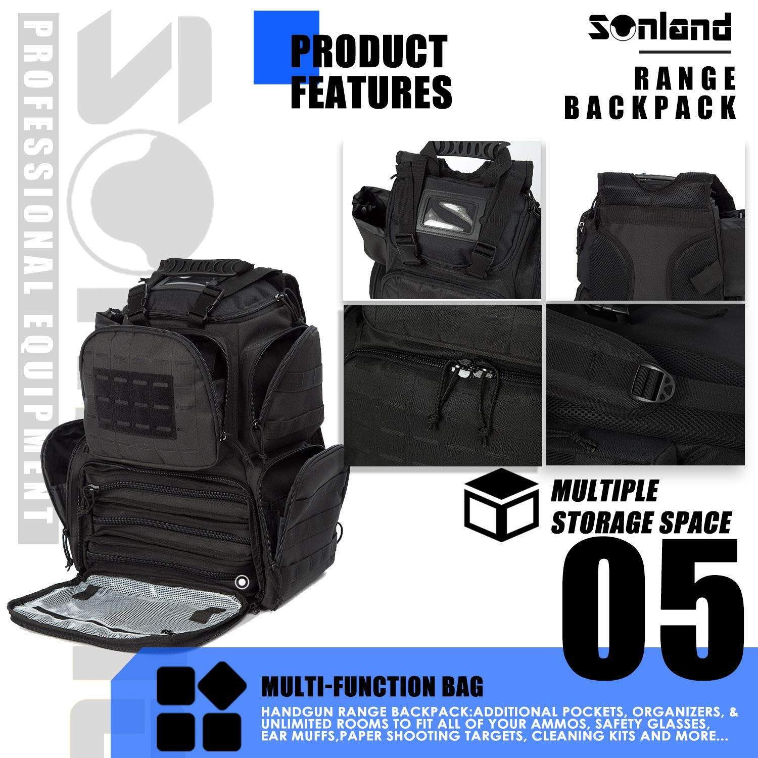 SUNLAND Range Bag Backpack,Gun Backpack with 3-Pistol Case and Protective Rain Cover,Tactical molle System & Lockable zippers-18'' x 14'' x 8'' (Blk) by SUNLAND (Image #6)