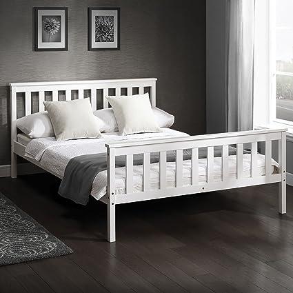 Cama doble en marco de madera blanco Marco de cama de pino macizo 4 ...