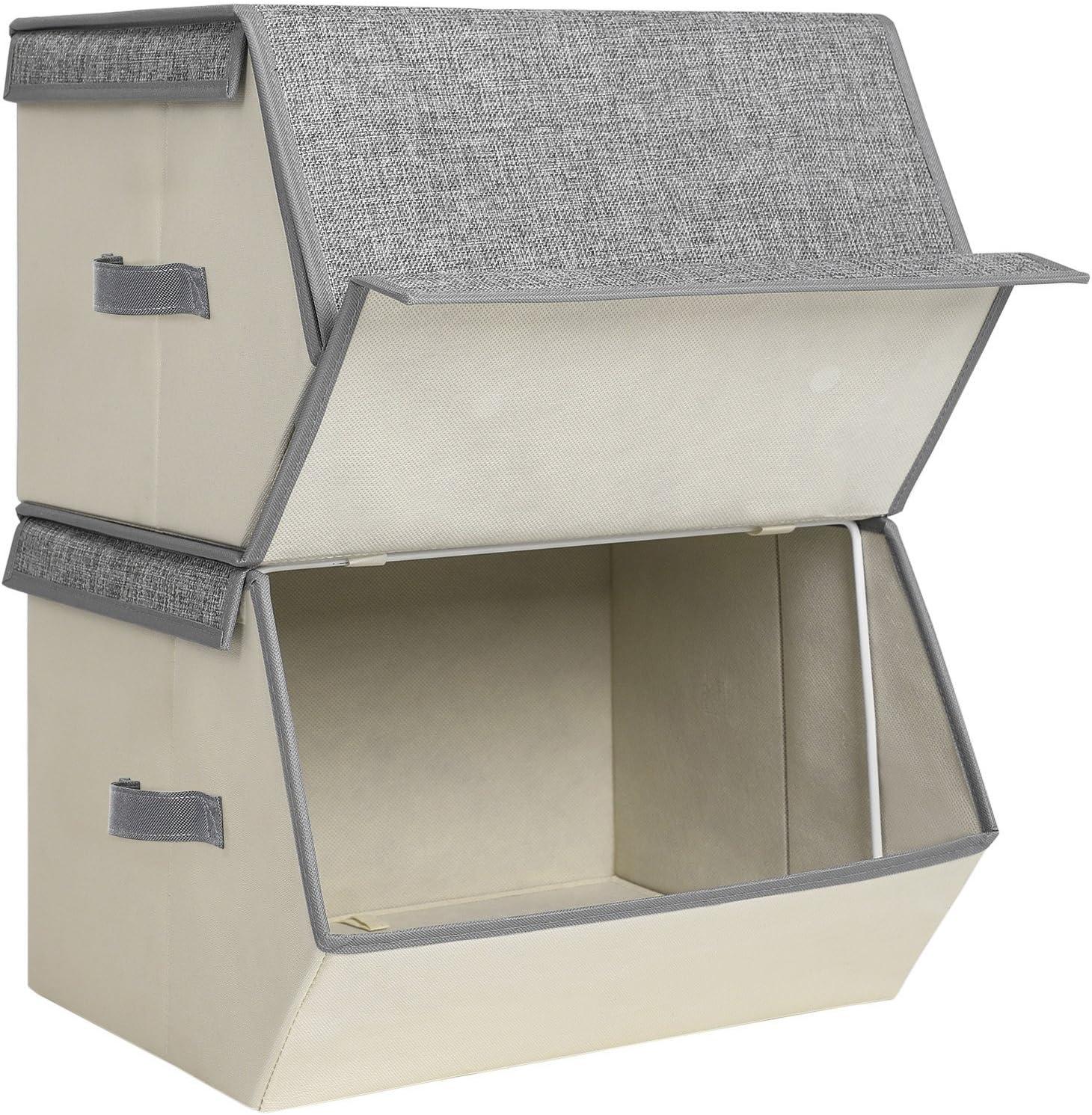 Songmics RLB02G - Juego de 2 cajas plegables para juguetes para niños, apilables, con cierre magnético y soporte de alambre de hierro, 38 x 25 x 35 cm, color gris, RLB02G, tela beige: Amazon.es: Hogar