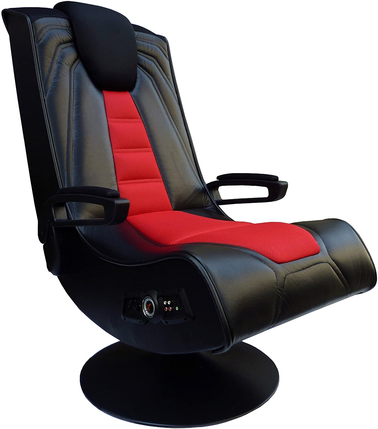 X Rocker Pedestal Extreme III 2.1 Sound Wireless Video Foldable Gaming Chair w/Pedestal Base and 2 Speaker High Tech Audio System - Subwoofer, Padded Armrests - Black and Red, 5149201