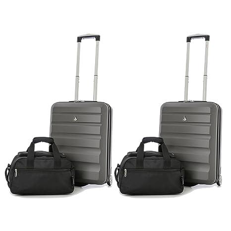 Aerolite - Set di 2 Trolley e 2 borse da viaggio - Bagaglio a mano in ABS  55x40x20 ... bcb1d646362