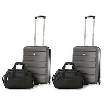 Aerolite 55x40x20 Tamaño Máximo de Ryanair y Vueling ABS Trolley Maleta Equipaje de mano cabina ligera con 2 ruedas (2 x Maleta Carbón + 2 x 2do Bolso ...