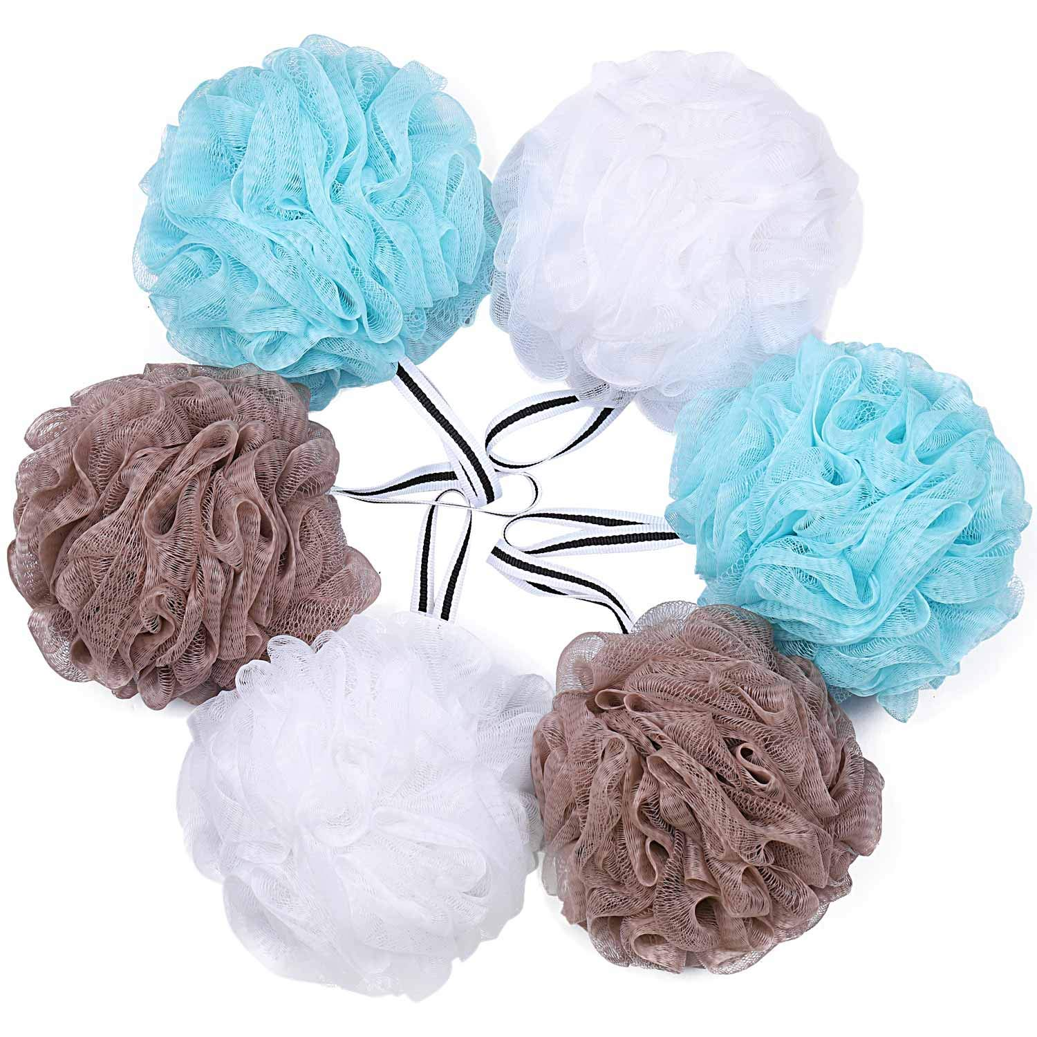 Bath Shower Loofah Sponge Pouf Body Scrubber Exfoliator (Set of 6): Beauty