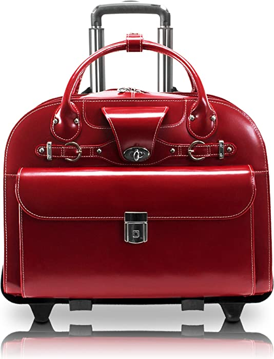 """McKlein, W Series, Roseville, Top Grain Cowhide Leather, 15"""" Leather Fly-Through Checkpoint-Friendly Patented Detachable -Wheeled Ladies' Laptop Briefcase, Red (96646)"""