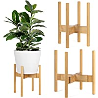 Bamboo Plant Stand, Adjustable Height and Width, Fits 20-30cm Pots, Mid Century Modern Indoor Planter Stand for Any Home…