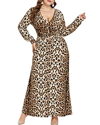 ab96abc1c3 KENANCY Womens Sexy Plus Size V Neck Long Sleeve Leopard Party Club Maxi  Dress at Amazon Women s Clothing store