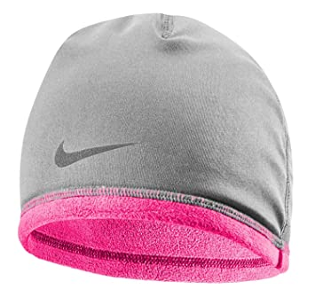 Nike Women s Thermal Hat and Glove Running Set Running Hat and Gloves Set  Grey Pink 8af5d097f8b0
