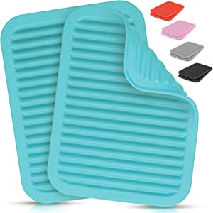 "Zulay 2 Pack (9""x12"") Silicone Trivets For Hot Pots and Pans - Multi-Purpose & Versatile Trivet Mat - Heat Resistant Silicone Trivet - Durable & Flexible Hot Pads For Kitchen Counter - Blue"