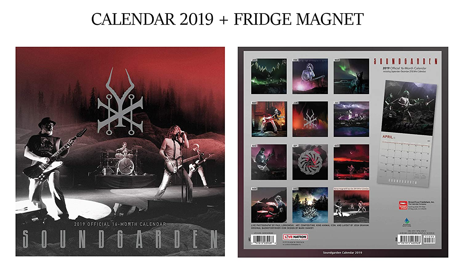 Soundgarden Official Calendar 2019 + Soundgarden Fridge Magnet GIFTSCITY