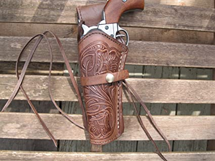 Belt /& More 1//6th Scale Chrome Revolver w//Brown Leather Holster
