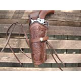 Brown Left Handed Tooled Leather Gun Holster