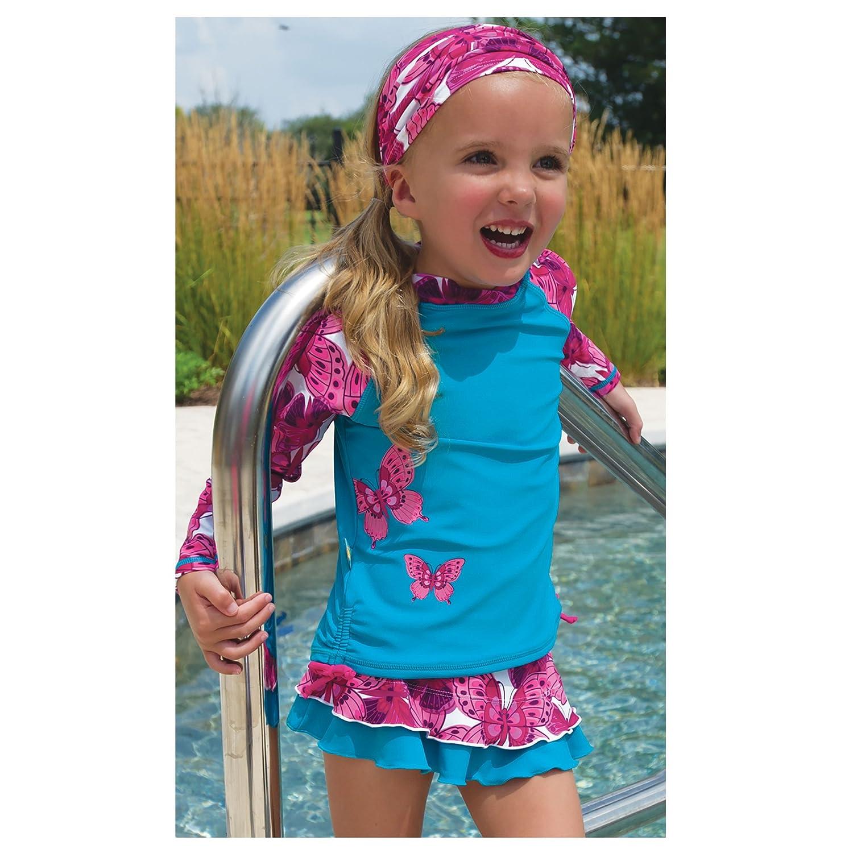 Sun Smarties Butterfly Long Sleeve Rash Guard and Reusable Swim Diaper Skirt