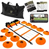 Corintio Sport Agility Ladder Speed Training Equipment Set - 20ft Workout Speed Ladder with Cones and Bag - Exercise…