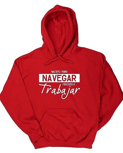 HippoWarehouse ES1 NACIDO PARA NAVEGAR FORZADO A TRABAJAR jersey sudadera con capucha suéter derportiva unisex: Amazon.es: Ropa y accesorios