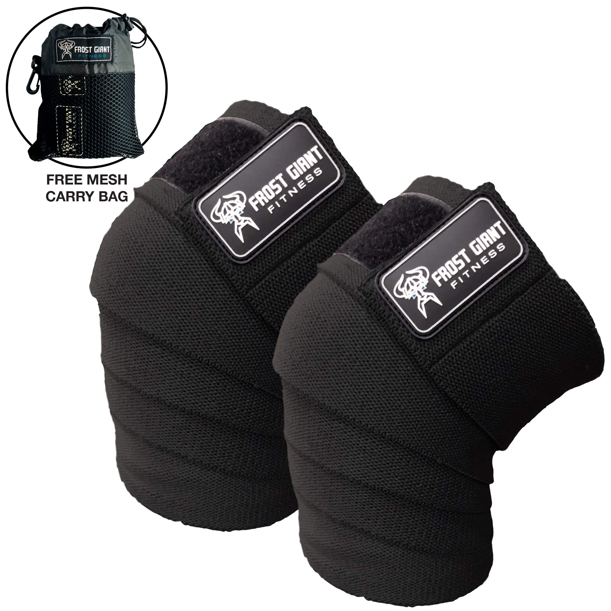 Frost Giant Fitness: 80'' Knee Wraps Set for Weightlifting, Bodybuilding, Lifting and Gym Workouts - Heavy Duty Exercising Knee Compression & Elastic Support for Men & Women. (Black)