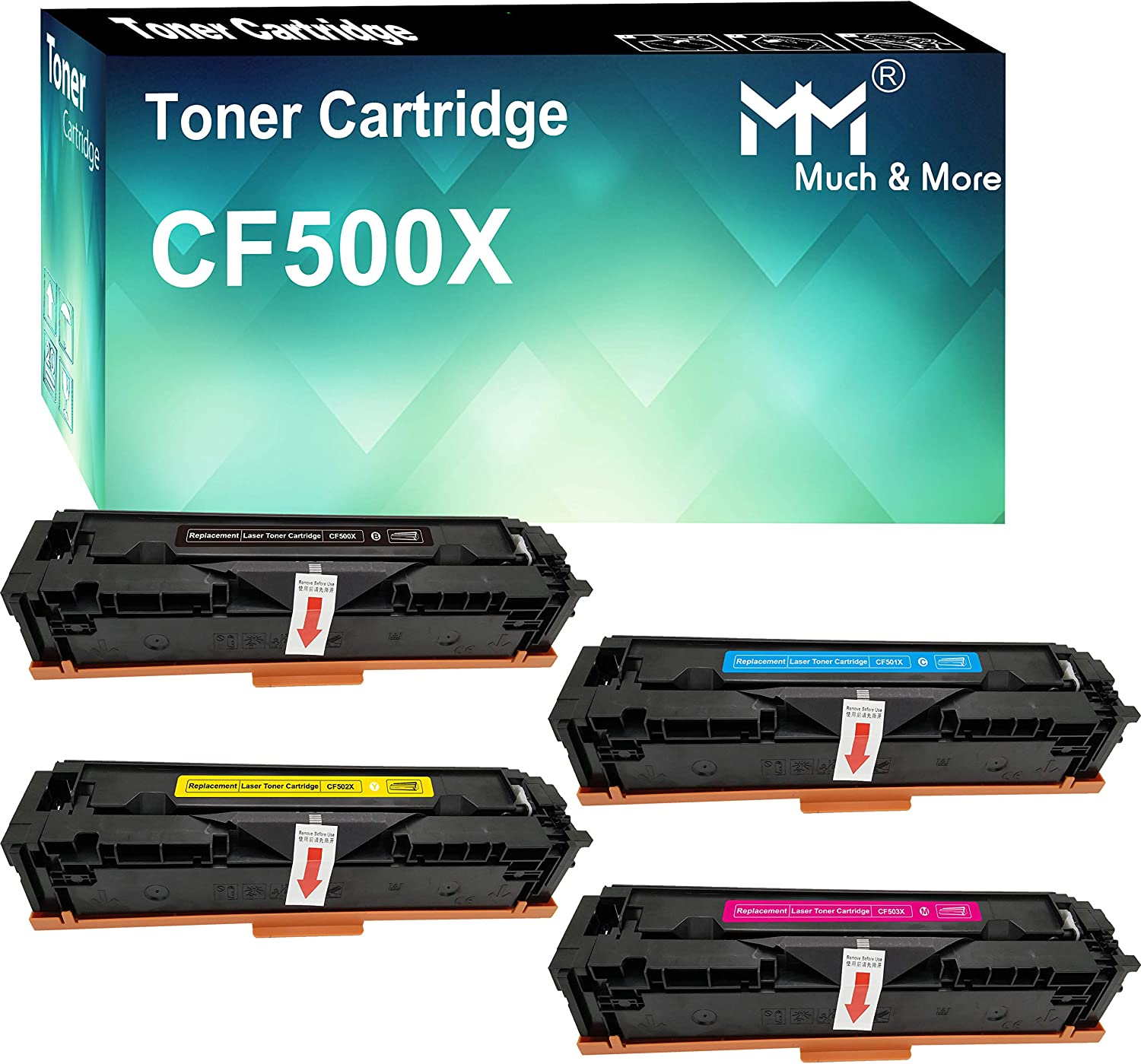 Compatible (4-Pack, High Yield, K+C+M+Y) CF501X CF502X CF503X 202X Toner Cartridge CF500X Used for HP Laserjet Pro M254DW 254NW M280NW M281FDW M281FDN Printer, Sold by MuchMore