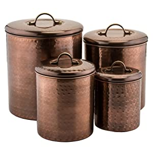 Old Dutch 1843 Old Dutch Hammered Canister (Set of 4), Antique Copper, 4 quart/2 quart/1½ quart/1 quart