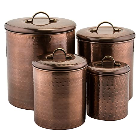 Old Dutch 1843 Canister Set Of 4 4 Quart 2 Quart 1 Quart 1 Quart Antique Copper
