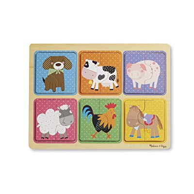Melissa & Doug Natural Play Wooden Puzzle: Farm Friends (6 2-Piece Animal Puzzles): Toys & Games