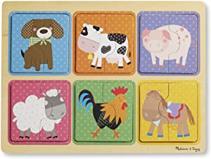 Melissa & Doug Natural Play Wooden Puzzle: Farm Friends (6 2-Piece Animal Puzzles)