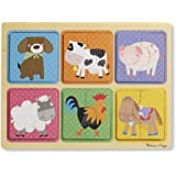 Melissa & Doug Natural Play Wooden Puzzle: Farm Friends (6 2-Piece Animal Puzzles)