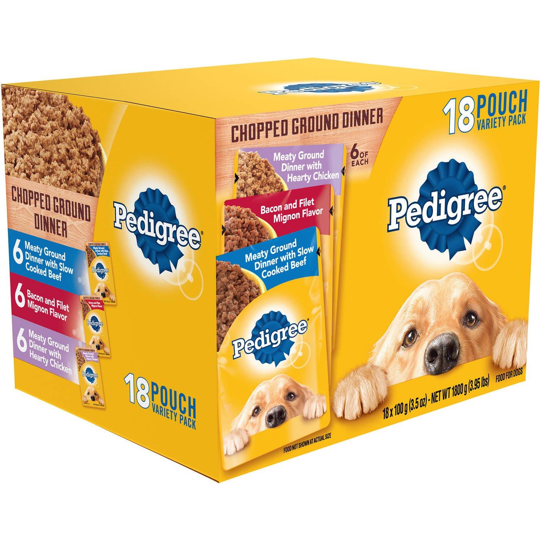 PEDIGREE Pouches 18 Flavor Dog Food Variety Pack (Ground Dinner)