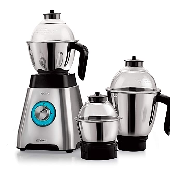 Cello Grind-N-Mix Alpha 1000w Steel Mixer Grinder with 3 Jars, Black and Silver Small Kitchen Appliances at amazon