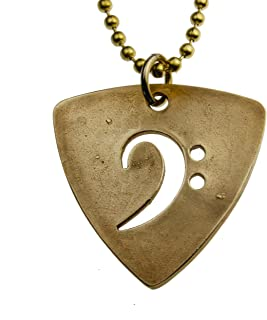 """product image for Bass Pick Peace Bronze Pendant Necklace on 24"""" Ball Chain"""