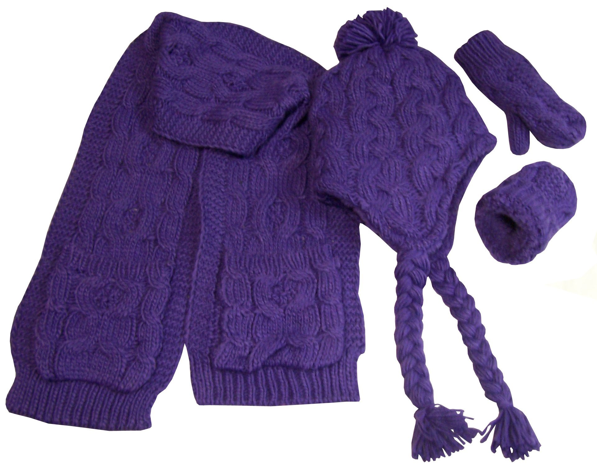 N'Ice Caps Big and Little Girls Cable Knit 3PC Set with Sherpa Lining (2-4yrs, Purple Solid)