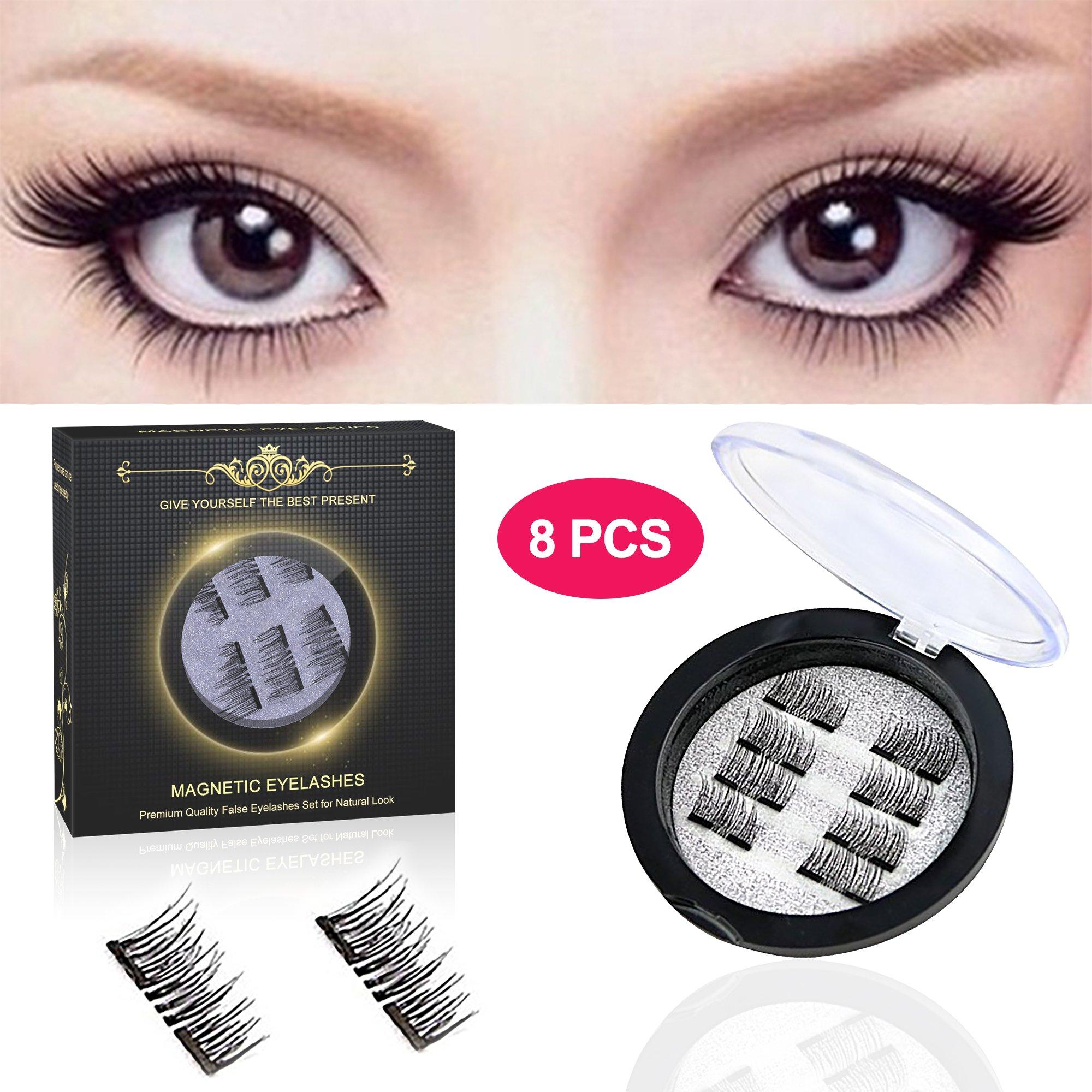 Magnetic Eyelashes -Pack of 8 pcs, Magnetic False Eyelashes for Women, False Eyelashes Set for Natural Look, Ultra Thin 3D Fiber Reusable Fake Eyelashes Extension (Black)