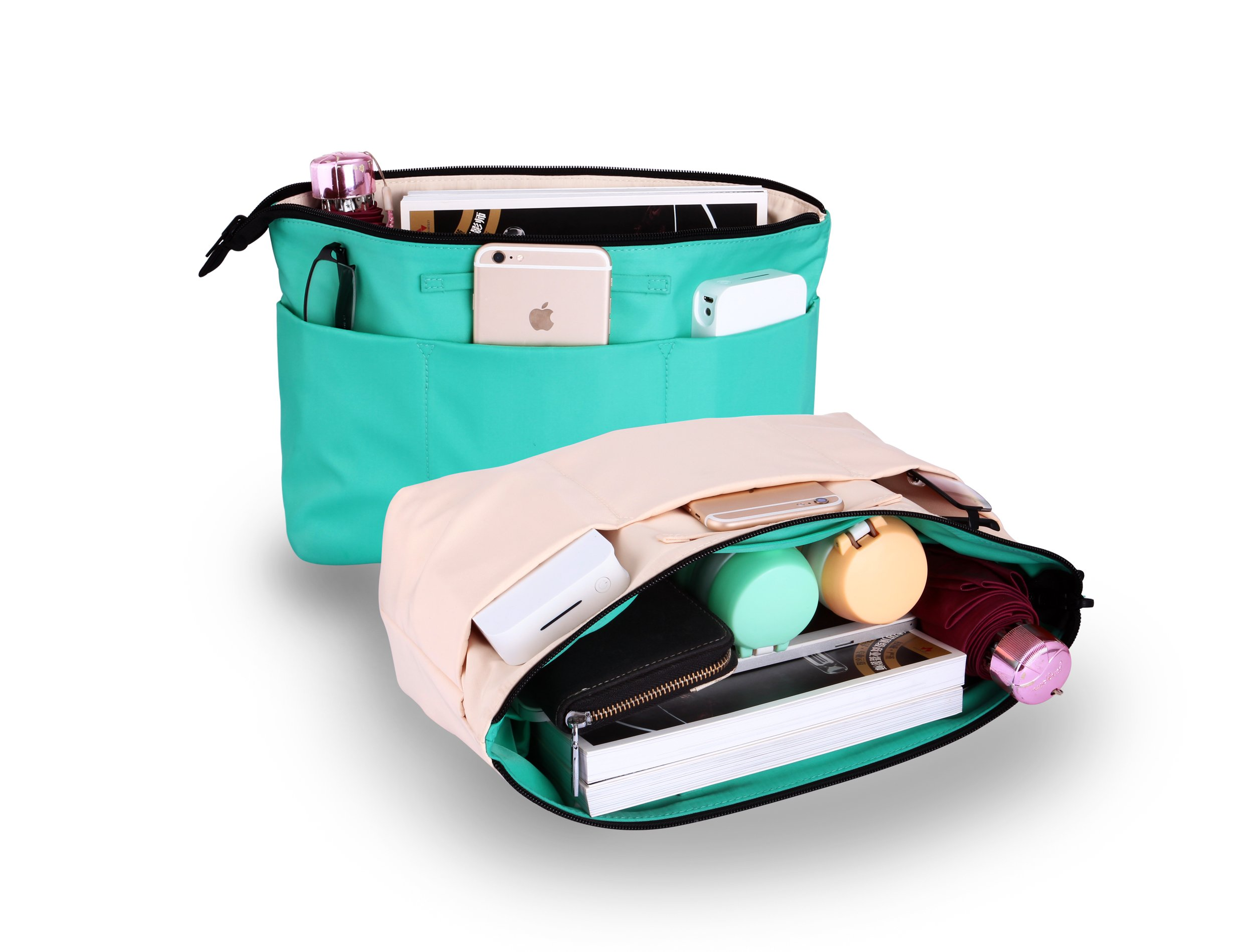 M-choice Premium Two-Side Use Handbag Organizer With YKK Zipper - Perfect Purse Organizer to Keep Everything Neat & in Style Color Green