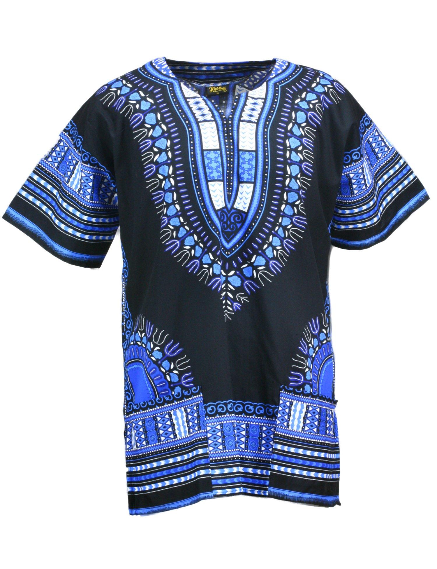 KlubKool Dashiki Shirt Tribal African Caftan Boho Unisex Top Shirt (Black/Blue,Medium)