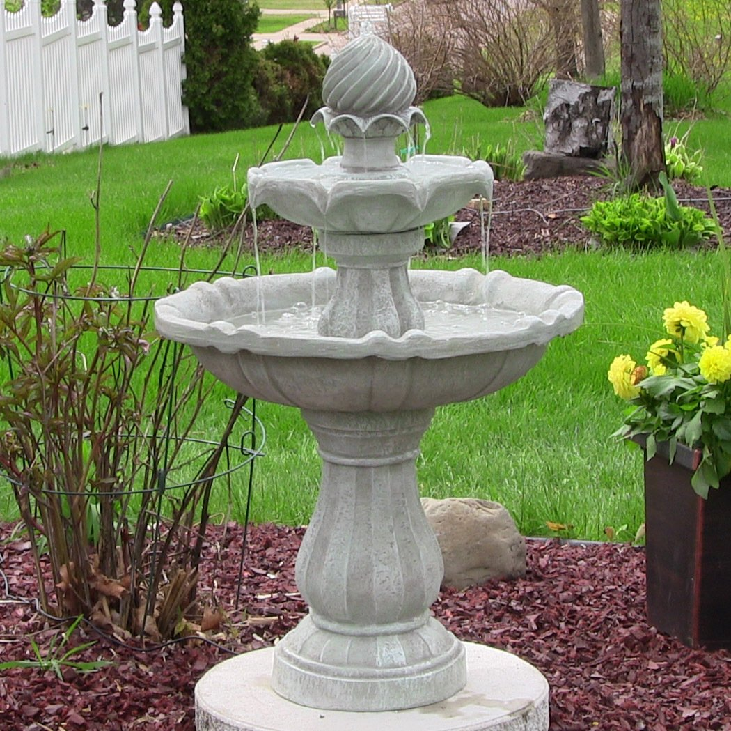 Bon Amazon.com : Sunnydaze Two Tier Solar Power Outdoor Water Fountain, White  Earth, 35 Inch Tall : Free Standing Garden Fountains : Garden U0026 Outdoor
