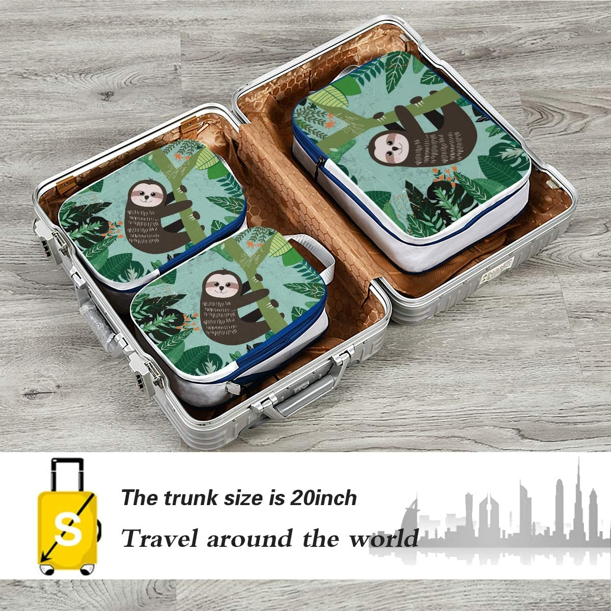 ATONO Botanical Tropical Green Leave And Cute Sloth In Forest Travel Packing Cubes Luggage Organizer Bags Storage 3 Pack Sets Toiletries Shoe Bag for Business Trip Holiday Kids/&Adults