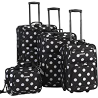 Rockland 4-Piece Polka Softside Expandable Upright Luggage Set (14