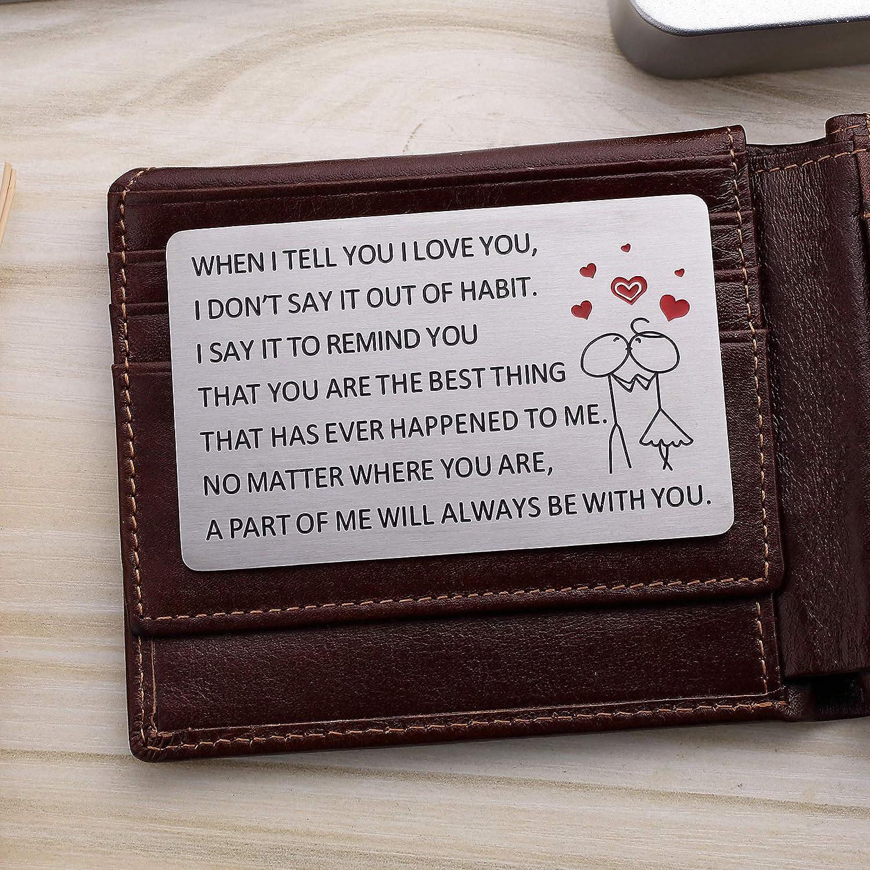 LIUANAN Engraved Metal Wallet Insert Card Love Note Anniversary Present for Men Women Boyfriend Girlfriend